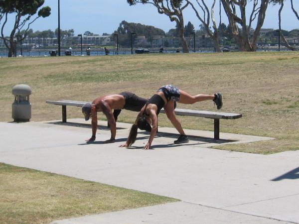 Working up a sweat at Embarcadero Marina Park South.