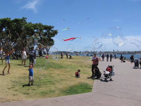 Bubbles and kites at Embarcadero Marina Park North.