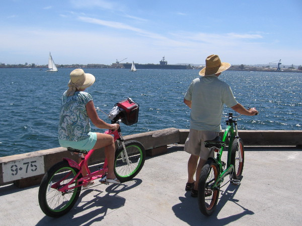 Stopping for a moment on bikes at the end of Broadway Pier.