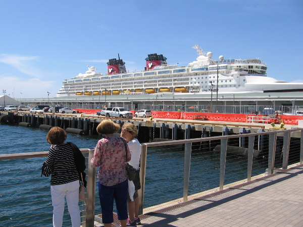 Disney Wonder cruise ship at dock in its sunny, welcoming home port.