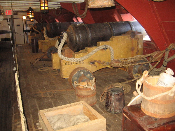 On the gun deck of HMS Surprise, replica twenty-four-pound cannons have names like Spit Fire, Beelzebub and Bulldog. Larger than what a frigate would carry, these were used for dramatic effect in the movie.