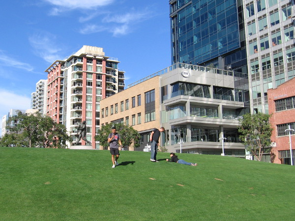 People enjoy the grassy hill in the Park at the Park, near the statue of baseball hitting legend Tony Gwynn.