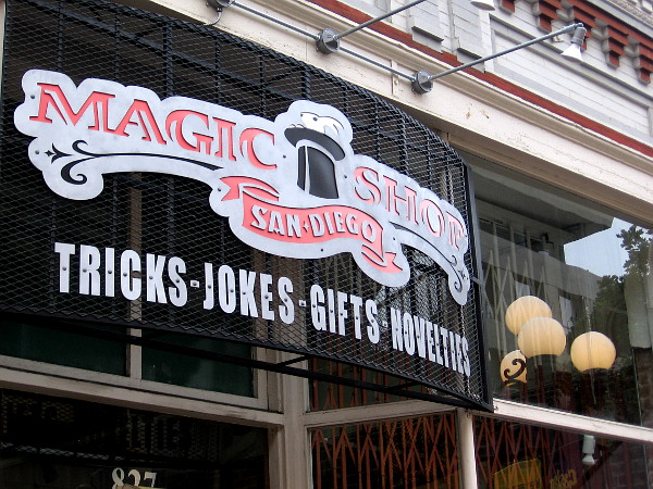 Magic Shop San Diego and a street lamp that seems to have mysteriously materialized inside their store.