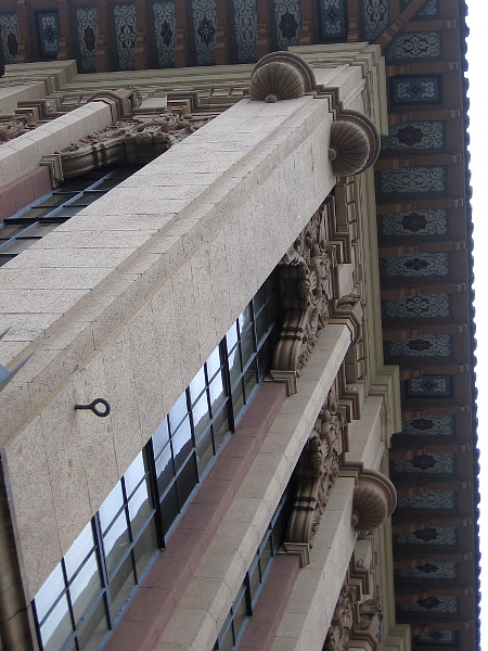 Gazing straight up toward the roof of the 1929 Samuel L. Fox Building at Sixth Avenue and Broadway.