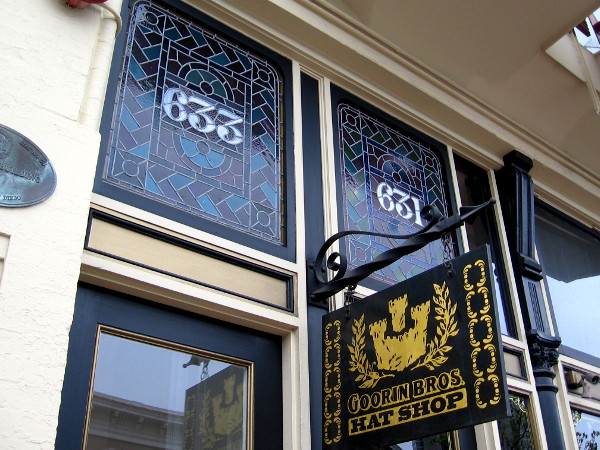 Stained glass windows add character to the Goorin Bros. Hat Shop - Gaslamp.
