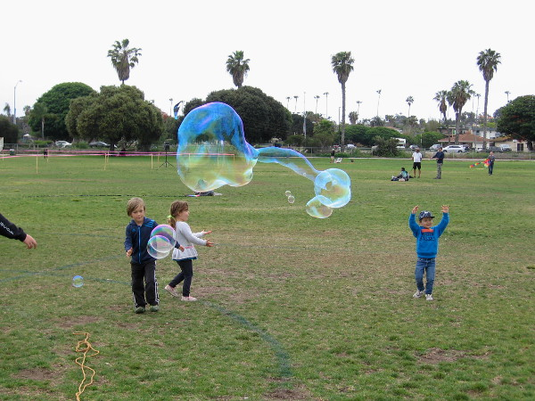Bubbles mix well with kites.