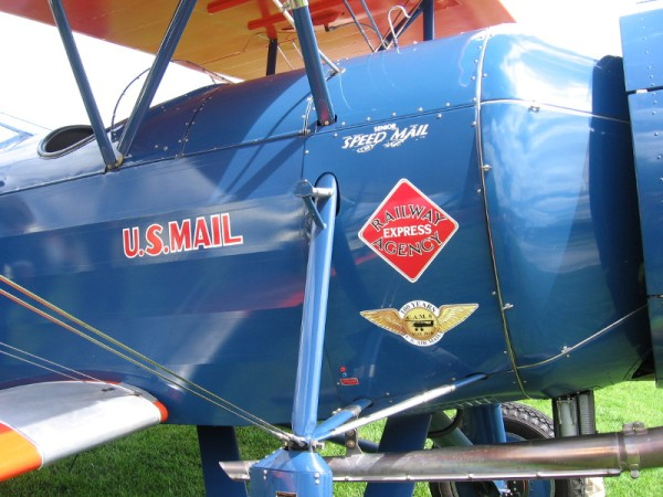 One of three Stearman Speedmail biplanes which will fly from San Diego to Seattle to commemorate the centennial of U.S. Air Mail service.