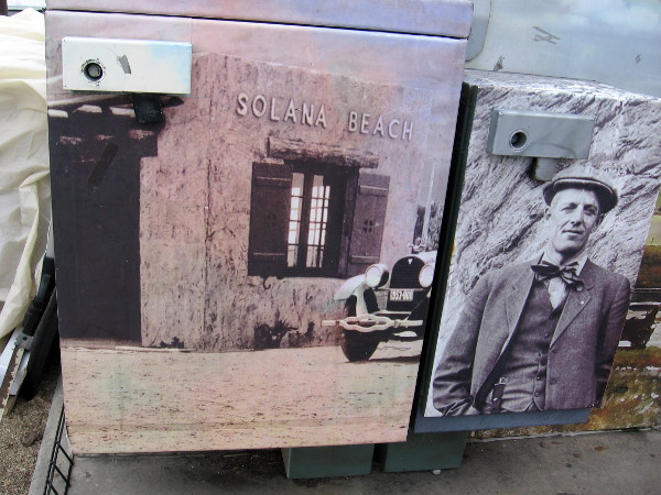 An electrical box celebrates the origin and early history of Solana Beach in San Diego's North County.