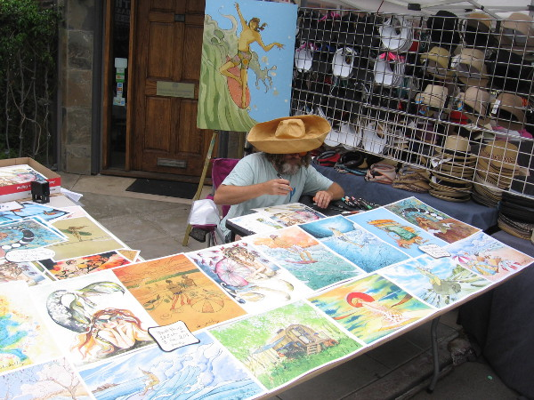This artist with lots of cool surf images displays his art at various festivals. I remember seeing him at the Ocean Beach Street Fair.