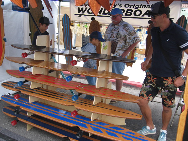 These super long skateboards are Blue Murphy's original Wonderboards! Murphy was a very friendly guy!