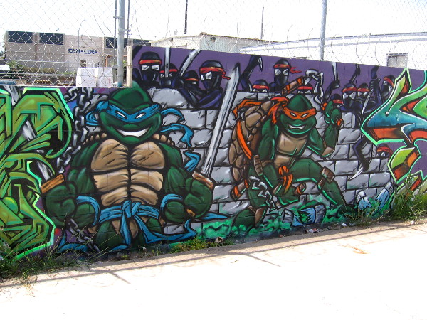 Cool spray paint street art in a Logan Heights alley includes the Teenage Mutant Ninja Turtles!