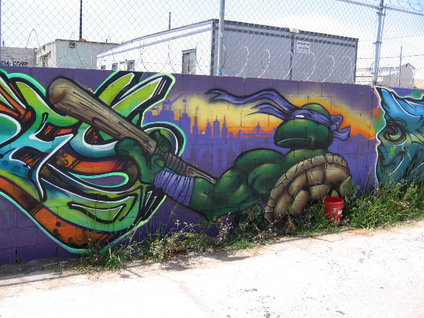 Donatello appears to be ready for action in an alley mural in Logan Heights.
