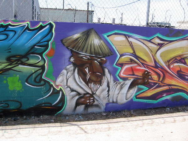 Splinter, the rat sensei, is hanging out between more cool graffiti.