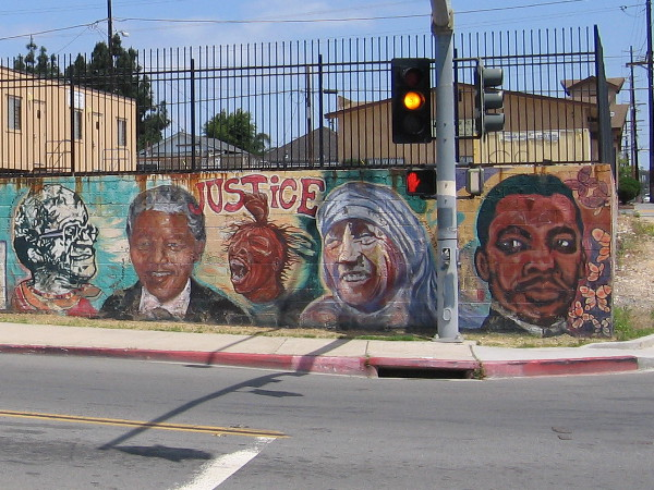 A street mural in San Diego that features many famous faces. Martin Luther King, Jr. is joined by others who have worked to advance civil rights.