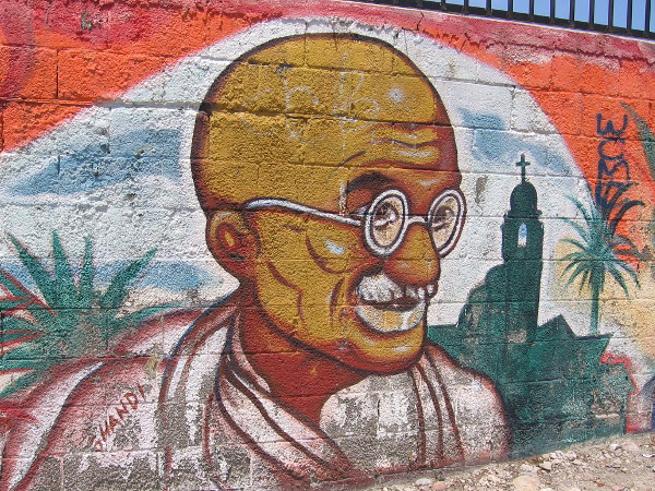 The face of Mahatma Gandhi.