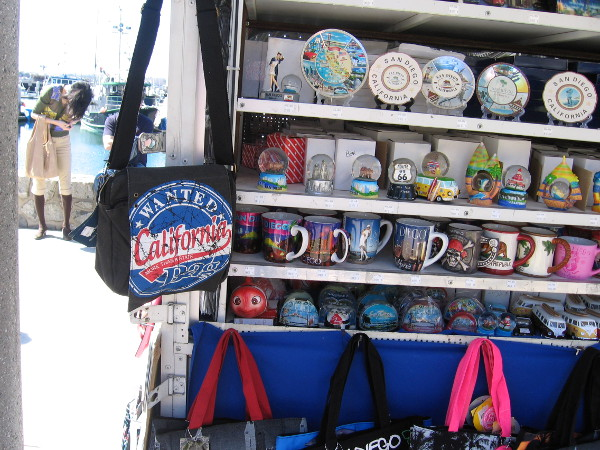 Tourist souvenirs on a vendor's cart on the Embarcadero.