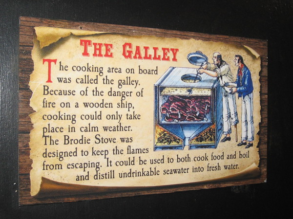 Cooking in the galley was done in calm weather. The Brodie Stove was designed for use on wooden ships where dangerous fire must be avoided at all costs.