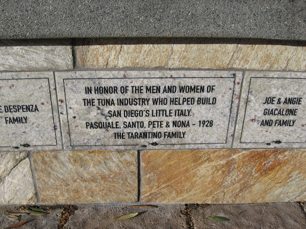 A plaque honors the men and women of the tuna industry who helped build San Diego's Little Italy.
