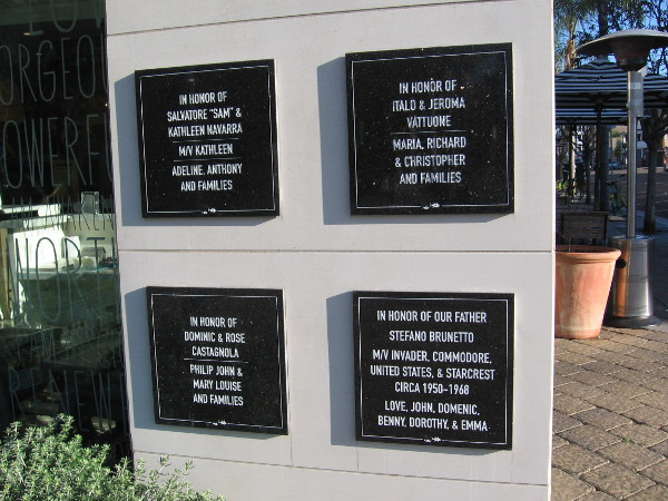 More plaques at Piazza Pescatore honor those who helped to make San Diego the tuna capital of the world during much of the 20th century.