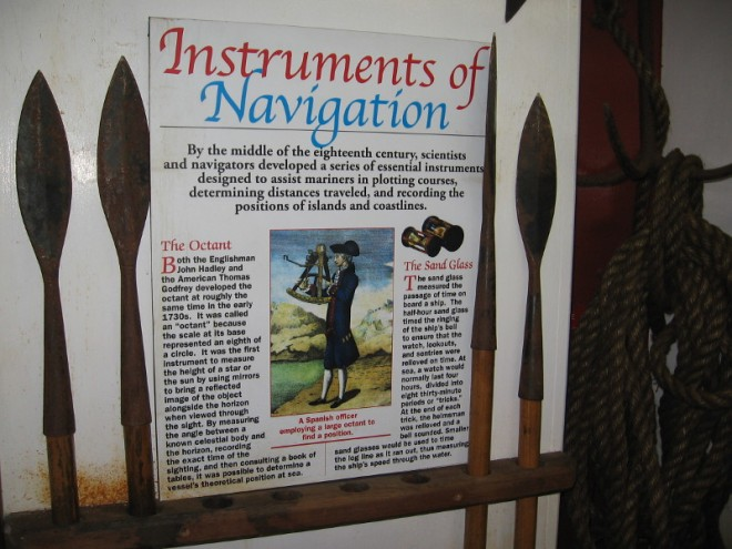 Instruments used to navigate a ship included the octant and sand glass.
