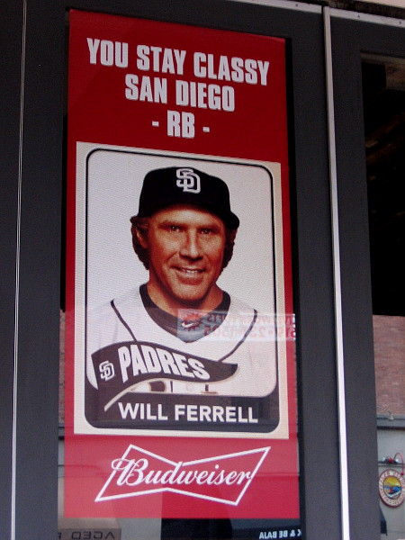 Budweiser banner in window shows Will Ferrell in a Padres baseball uniform. You stay classy San Diego!