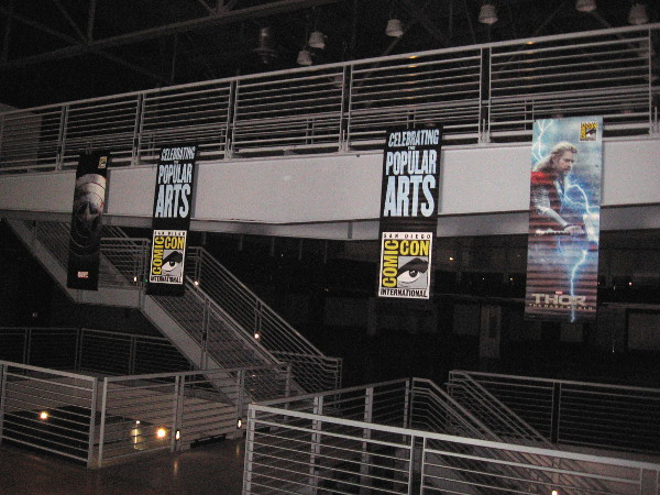 Comic-Con banners have been hung inside the Federal Building in Balboa Park, former home to the Hall of Champions, and future home to the Comic-Con Center for Popular Culture!