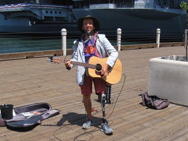 Gary Reid performs bluesy songs on San Diego's Embarcadero. He always greets me with a big smile when I pass by.