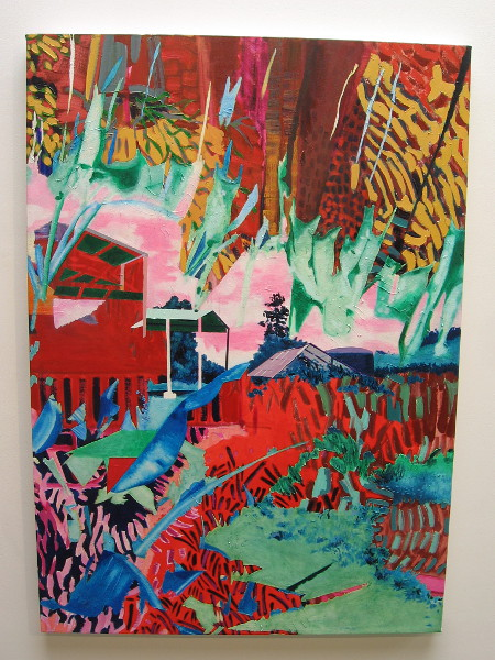Earthlab, 2017, by artist Eva Struble. Acrylic and oil on canvas. Optimistic and energetic colors depict small San Diego farms.