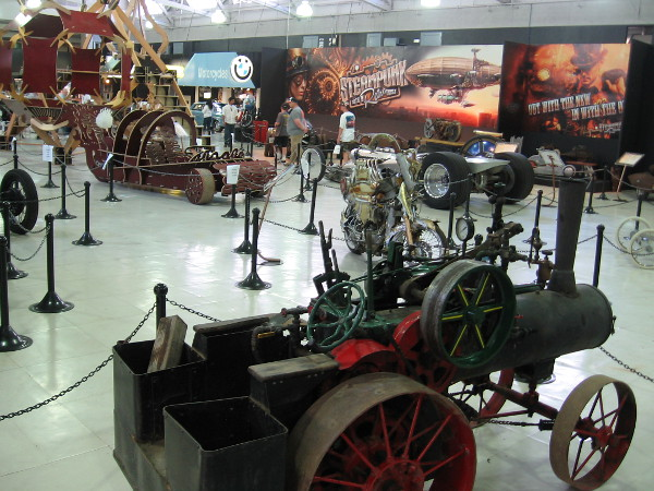 The museum floor is filled with every sort of cool steampunk and unusual, retro-looking vehicle you might imagine!