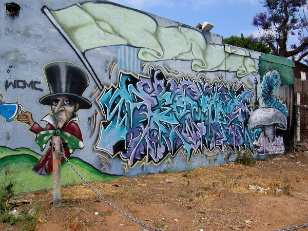 Lewis Carroll characters have been spray painted alongside graffiti in Logan Heights.