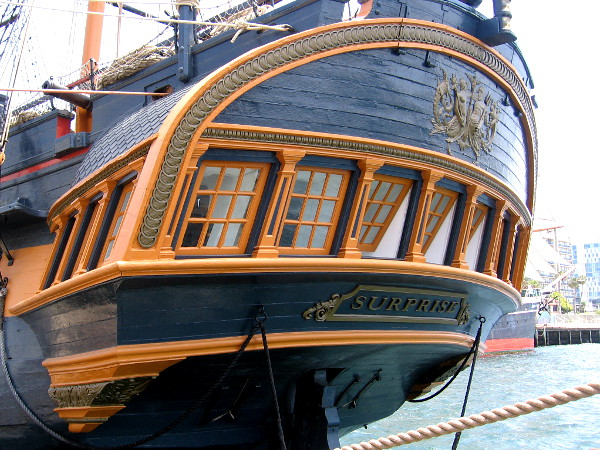 The stern of HMS Surprise, the beautiful ship used in the filming of Master and Commander: The Far Side of the World, starring Russell Crowe.