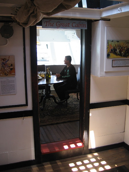 The great cabin of HMS Surprise is now open to the public. Several displays provide interesting information.