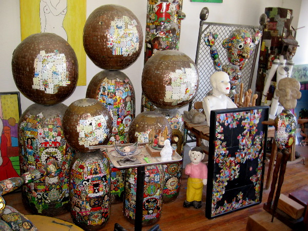 A small army of Japanese kokeshi fill the James E. Watts Studio in downtown San Diego.