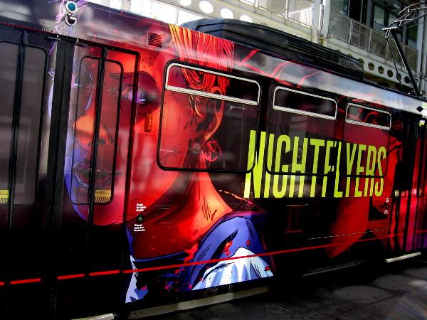 Nightflyers graphics on a 2018 San Diego Comic-Con Syfy trolley wrap.