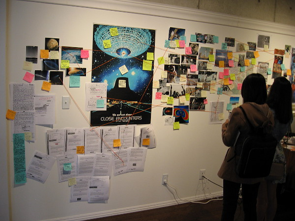 This multimedia installation by Jones von Jonestein is titled The Moon is a Harsh Mistress, after a novel by science fiction author Robert A. Heinlein.
