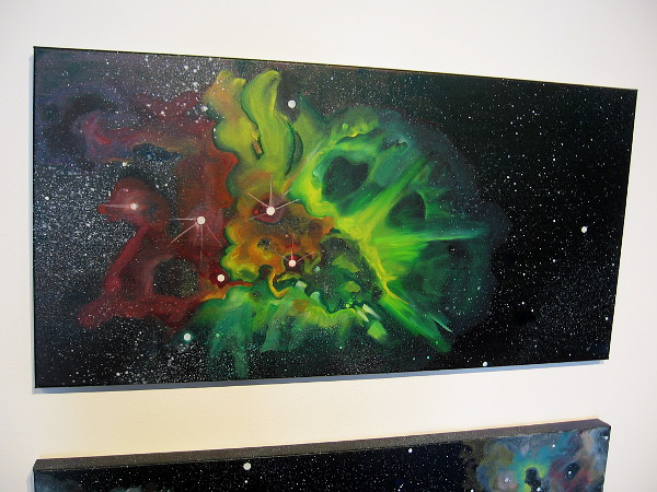 Space art depicting vast clouds of glowing dust and gas. The One that Got Away, by artist Sheena Rae Dowling.