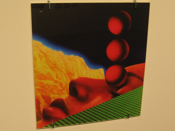 One of several collages exhibited by artist Andrew McGranahan. His retro-futurism embraces both utopian and dystopian imagery.