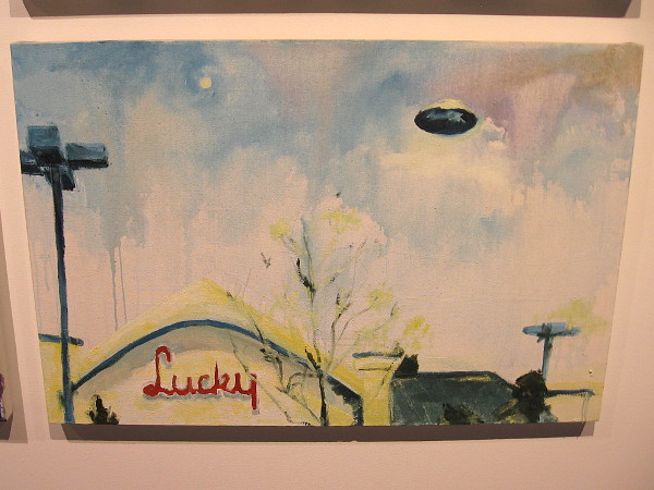 A flying saucer above a Lucky supermarket! Artist Matthew Bradley has fun with the popular imagination in the Space Age.