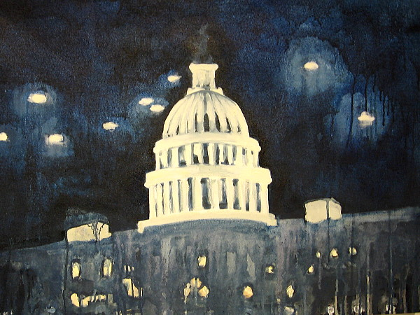 Bright UFOs painted in the night sky above the United States Capitol dome!