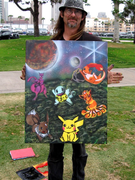 William Dorsett near the USS Midway created some fun spray paint Pokémon artwork!