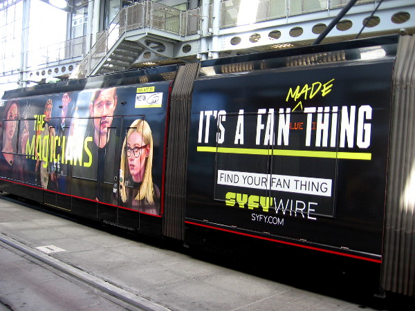 A cool Syfy wrap on a San Diego Comic-Con trolley. It's a fan made thing. Find your fan thing!