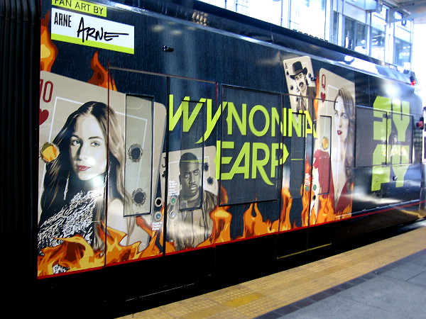 The other half of the San Diego Trolley car promotes the Syfy show Wynonna Earp.