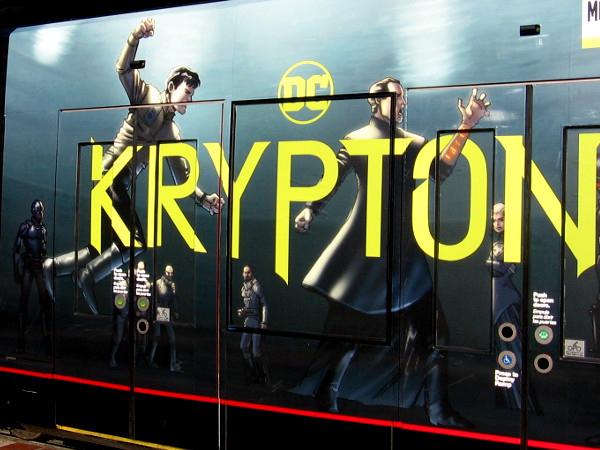A closer photo of the Krypton trolley graphic.