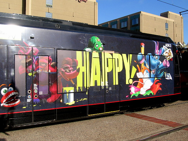 The other half of the trolley car features imaginary characters from the highly original fantasy-comedy-crime show HAPPY!