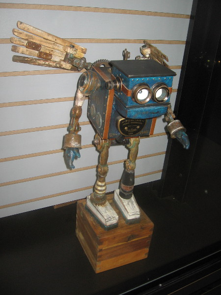 Assemblage artist Dan Jones created this cool little robot sculpture. He exhibits his work at San Diego Comic-Con, as well as many galleries, steampunk and sci-fi conventions.