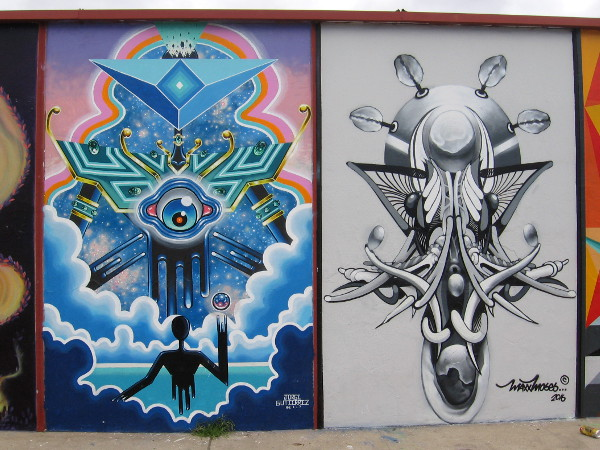 Some panels on a mural on Gunn Street west of 30th Street have been repainted. The two shown are by Jorge Gutierrez and Maxx Moses.