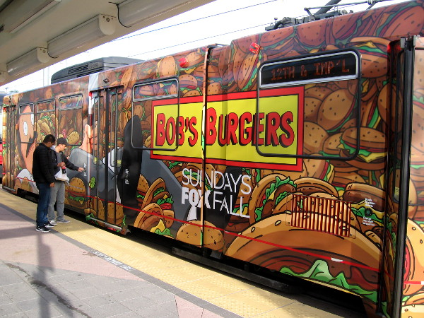 A colorful Bob's Burgers trolley wrap during 2018 San Diego Comic-Con promotes the funny animated show on FOX.