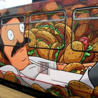 Bob's Burgers served on a Comic-Con trolley!