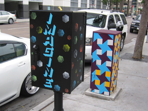 IMAGINE painted on a box in downtown San Diego.