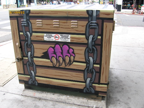 A purple claw has emerged from this electrical box!
